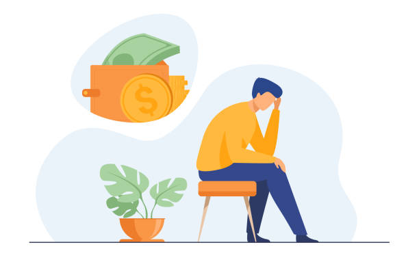 depressed sad man thinking over financial problems - unemployment stock illustrations