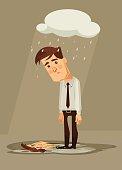 Depressed sad office worker character. Vector flat cartoon illustration