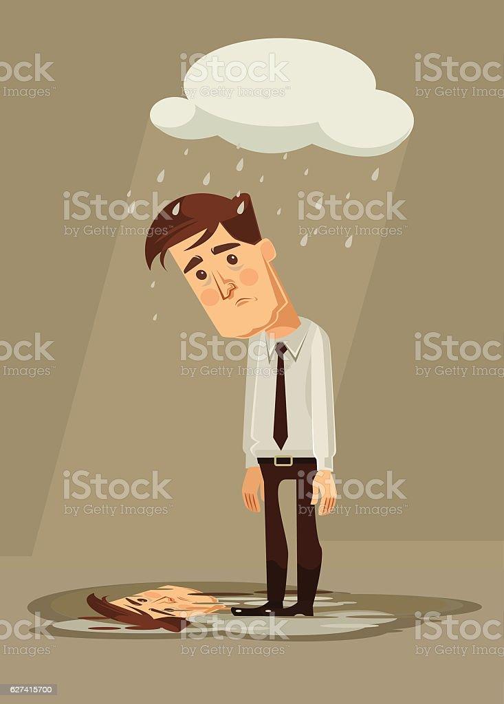 Depressed sad office worker character. Vector flat cartoon illustration vector art illustration