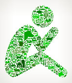 Depressed Stick Figure Farming and Agriculture Green Icon Pattern