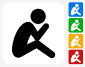 Depressed Stick Figure Icon. This 100% royalty free vector illustration features the main icon pictured in black inside a white square. The alternative color options in blue, green, yellow and red are on the right of the icon and are arranged in a vertical column.
