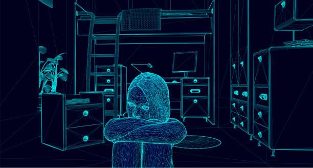 stockillustraties, clipart, cartoons en iconen met depressieve tiener zit in de verdieping van haar slaapkamer - solitair