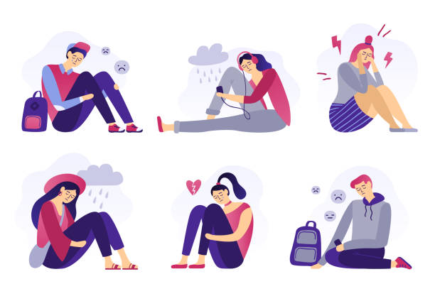 Depressed teenagers. Sadness student, unhappy stressed teen sad boy and crying girl. School stress isolated flat vector illustration Depressed teenagers. Sadness student, unhappy stressed teen sad boy and crying girl. School stress, anxious introvert teen, lonely bullying abused teenager. Isolated flat vector illustration icons set shy stock illustrations