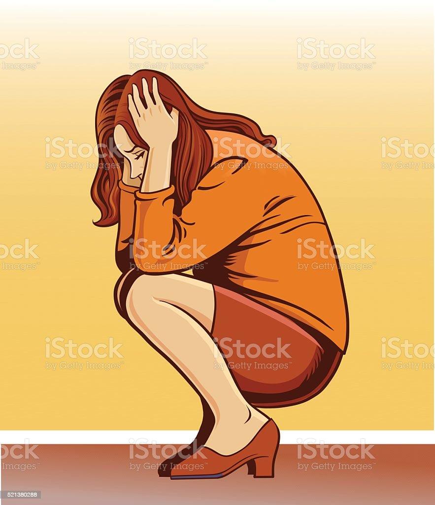 Depressed Woman - Depression vector art illustration