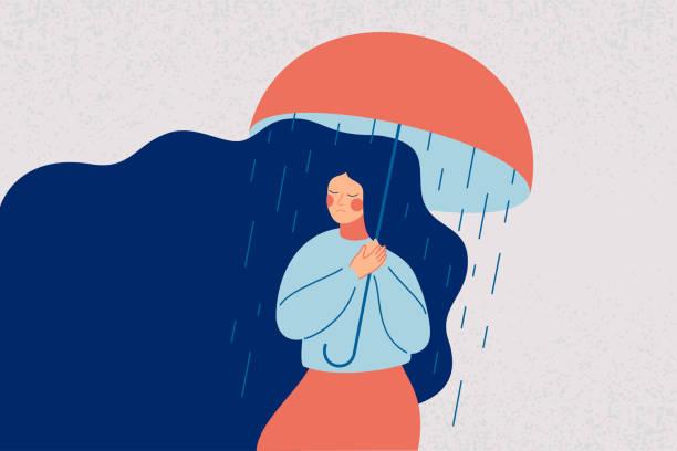 落ち込んでいる女性は、雨から彼女を救わない開いた傘を持っています。 - 女性 落ち込む点のイラスト素材/クリップアート素材/マンガ素材/アイコン素材