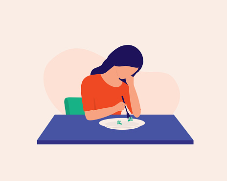 Depressed Woman Not Feeling Hungry And Just Eating Broccoli For Meal. Eating Disorder.