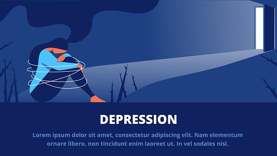 Depressed Woman Sitting in Dark in front Open Door