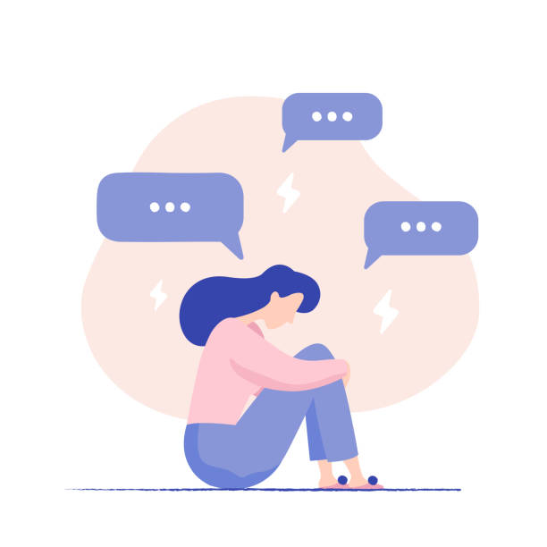 illustrazioni stock, clip art, cartoni animati e icone di tendenza di depressed woman sitting on the floor surrounded by message bubbles and lightnings. cyber bullying. unhappy female character receiving pop up messages. problems in social networks. - assuefazione
