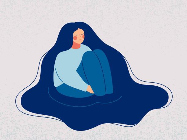 落ち込んだ女性は悲しい思いを抱く。 - 女性 落ち込む点のイラスト素材/クリップアート素材/マンガ素材/アイコン素材