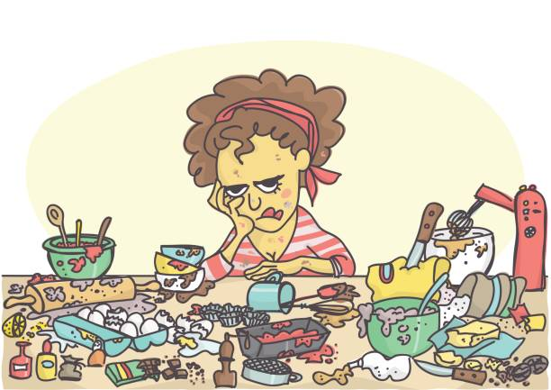 illustrazioni stock, clip art, cartoni animati e icone di tendenza di depressed woman with pastries items and ingredients - chef triste