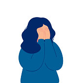 Depressed young girl crying covering her face with her hands. Weeping woman emotions grief. Human character vector illustration isolated from white background
