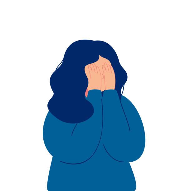 stockillustraties, clipart, cartoons en iconen met depressief jong meisje huilen met betrekking tot haar gezicht met haar handen - alleen één meisje