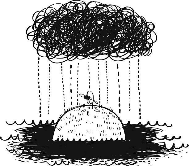 stockillustraties, clipart, cartoons en iconen met depressing rain - bloemen storm