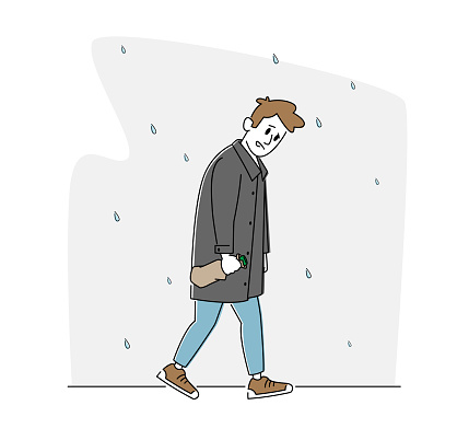 Depression, Alcoholism Addiction Concept. Sad Male Character with Alcohol Bottle Wrapped in Paper Walking under Rain