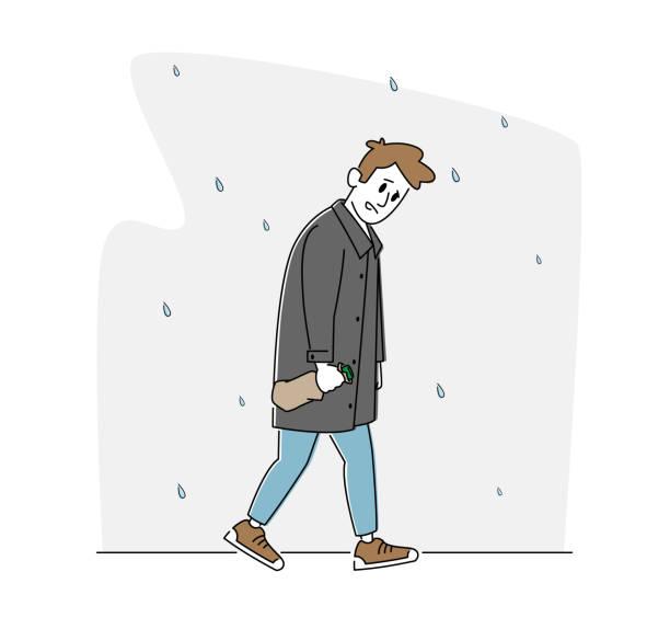 bildbanksillustrationer, clip art samt tecknat material och ikoner med depression, alkoholism addiction concept. sad manlig karaktär med alkoholflaska insvept i papper walking under regn - endast en man