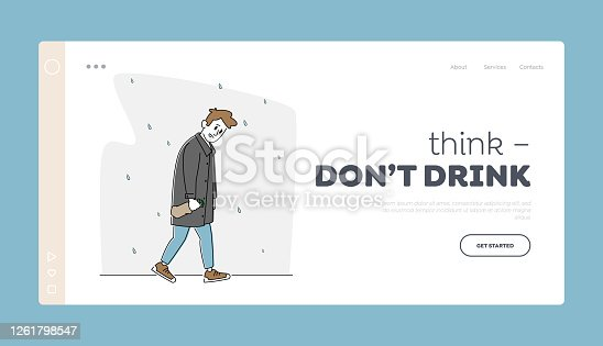 istock Depression, Alcoholism Landing Page Template. Sad Male Character with Alcohol Bottle Wrapped in Paper Walking under Rain 1261798547