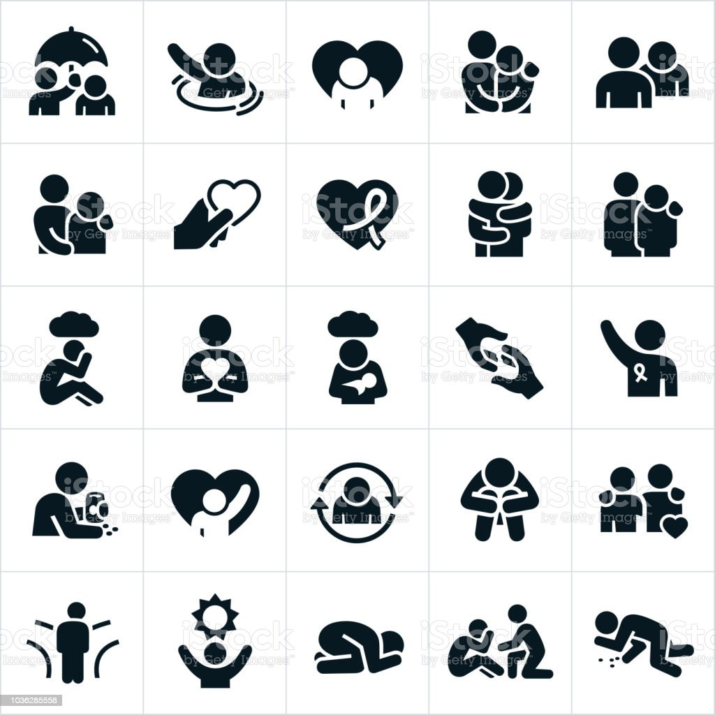 Depression and Anxiety Icons vector art illustration