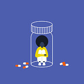 istock Depression. Antidepressants. Young black female character trapped in a pill bottle. Capsules. Medicine. Addiction. Modern life. Millennial problems. Flat editable vector illustration, clip art 1176670916