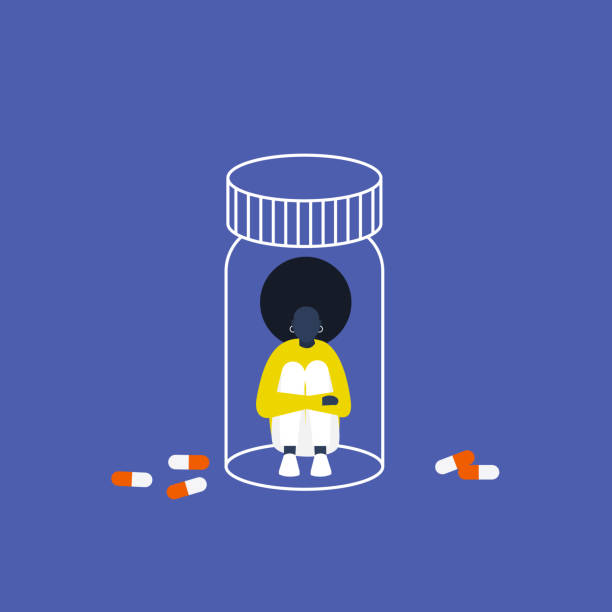 Depression. Antidepressants. Young black female character trapped in a pill bottle. Capsules. Medicine. Addiction. Modern life. Millennial problems. Flat editable vector illustration, clip art Depression. Antidepressants. Young black female character trapped in a pill bottle. Capsules. Medicine. Addiction. Modern life. Millennial problems. Flat editable vector illustration, clip art tranquilizing stock illustrations