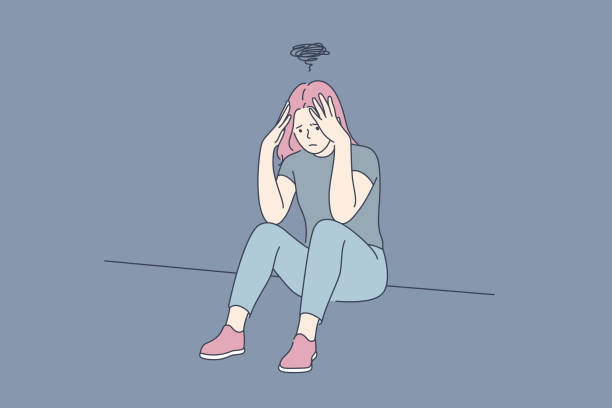 Depression, fatigue, mental stress, frustration concept Depression, fatigue, mental stress, frustration concept. Young depression frustrated woman or girl teenager sitting on floor at home. Fatigue, raising of mental stress because of headache or bad news. shy stock illustrations