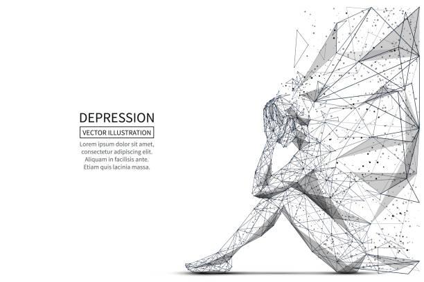 Depression niedrige Poly-Banner-Vorlage – Vektorgrafik