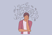 Depression, problems, tiredness with thoughts concept. Young sad unhappy african american man standing over thinking looking tired and bored with depression problems vector illustration