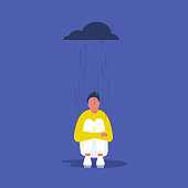 Depression. Psychology. Mental health. Rain. Cloud. Young male character sitting in the rain. Flat editable vector illustration, clip art. Concept
