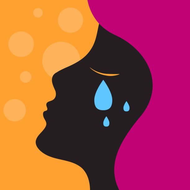 illustrazioni stock, clip art, cartoni animati e icone di tendenza di depression, sadness, girl crying - violenza donne