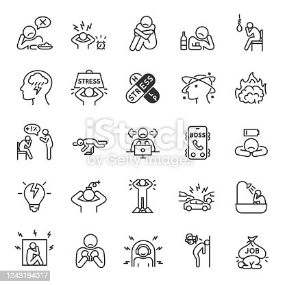 Depression, state of low mood and aversion, sadness, suicidal thoughts icon set. People experiencing depression, linear icons.