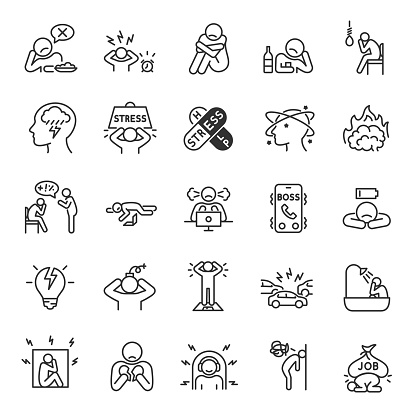 Depression, state of low mood and aversion, sadness, suicidal thoughts, linear icon set. Experiencing depression. Line with editable stroke