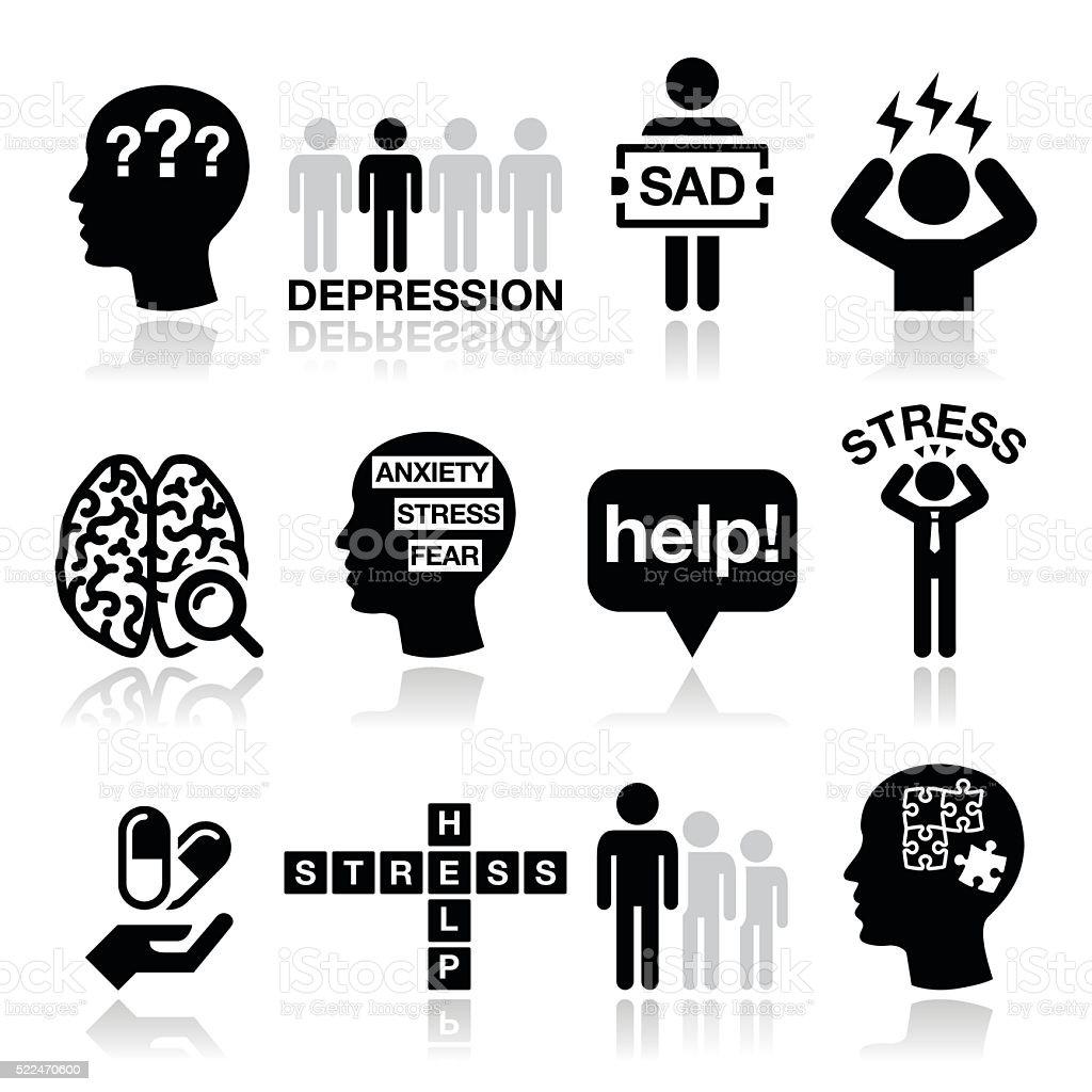 Depression, stress icons set - mental health concept vector art illustration