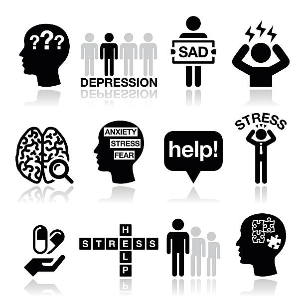 Depression, stress icons set - mental health concept Vector icons set - mental health isolated on white  suicide stock illustrations
