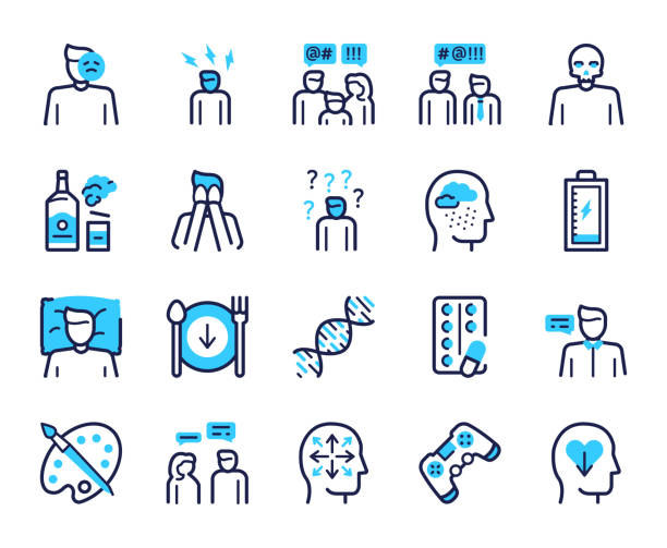 Depression symptoms blue linear vector icons set Depression symptoms blue linear vector icons set. Emotional burnout, nervous tension, fatigue signs. Alcohol abuse, apathy, lack of appetite contour symbols. Frustration, sadness outline illustrations mental burnout stock illustrations