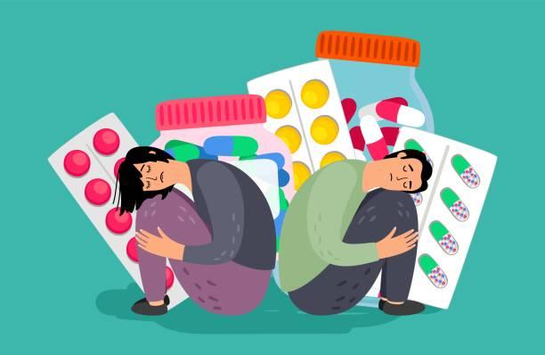 Depression treatment illustration vector art illustration
