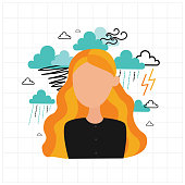 Depression. Sad unhappy young woman sitting under rain clouds. Flat vector illustration.