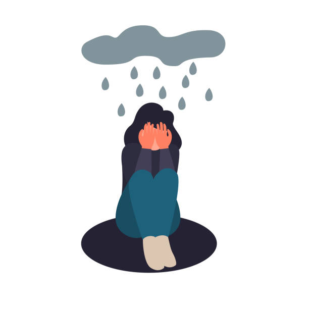 Depression woman sit on the floor. Depressed girl crying covering her face with her hands. Sad female flat character sits in the rain Depressed woman sit on the floor. Depressed young girl crying covering her face with her hands. Sad female flat character sits in the rain. suicide stock illustrations