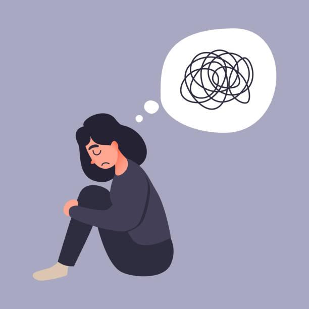 うつ病の女性が床に座る。若い女性が混乱しています。不安障害。非常識な乱雑な行 - ドキドキ点のイラスト素材/クリップアート素材/マンガ素材/アイコン素材