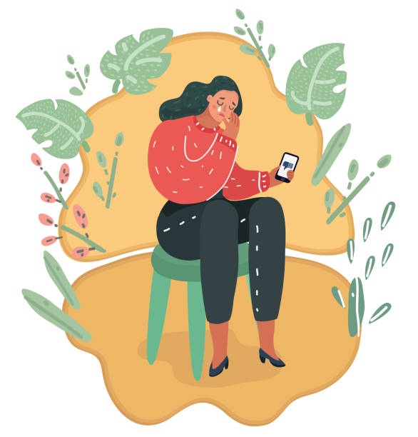 Depressive woman. Sad teen female Vector cartoon illustration of Depressive woman female think about dislikes. Depression woman sit on chair. Depressed girl crying covering face with her hands and hold smartphone. suicide stock illustrations