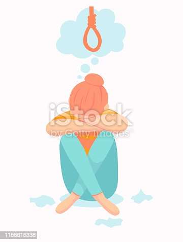 Depressive woman wants to commit suicide by hanging in the rope. Sad teen female think about death. Depression woman sit on the floor.