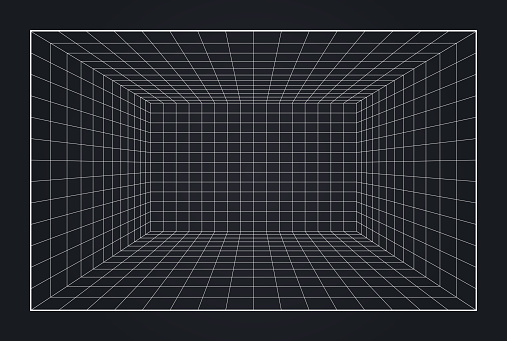 Depth grid box 3d virtual reality copy space background.