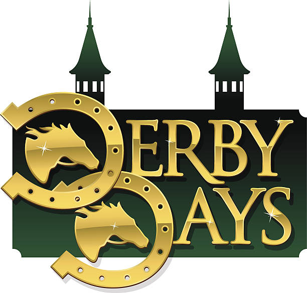 derby days heading - horse racing stock illustrations