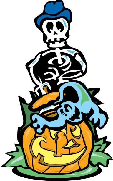 Derby wearing skeleton finds ghost in pumpkin vector art illustration
