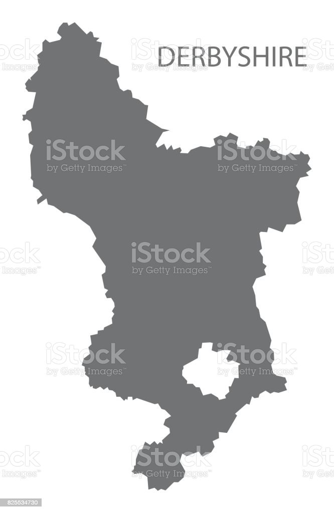 Geographic Map Of England.Derbyshire County Map England Uk Grey Illustration Silhouette Shape