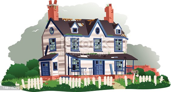 Isolated illustration of a typical derelict house. In the foreground the picket fence is falling down, and much of the woodwork on the house is coming apart. Many of the windows are missing or broken, and there are large holes in the roof. The sky behind is dark and stormy looking.