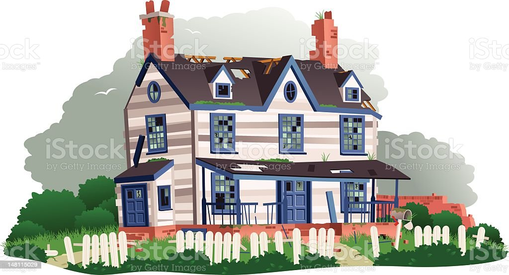Derelict abandoned house vector art illustration