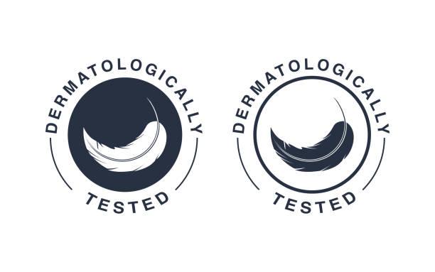 ilustraciones, imágenes clip art, dibujos animados e iconos de stock de logo dermatológicamente probado. los iconos de pluma de vector de la etiqueta del envase hipoalergénicas o dermatología prueba etiqueta - dermatología
