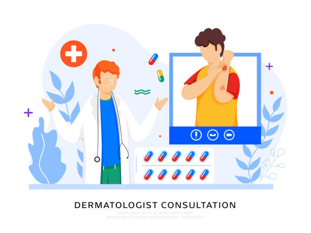 Dermatologist Consultation Concept Based Poster Design, Cartoon Patient Interacting on Video Call with Doctor Man. vector art illustration