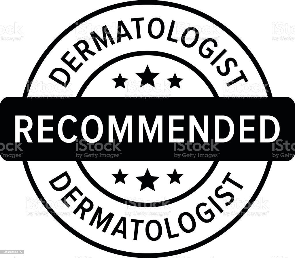 Dermatologen zusammengestellte empfohlen label flache Symbol – Vektorgrafik