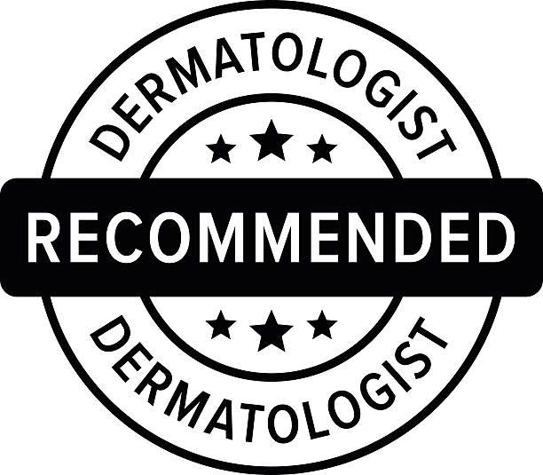 ilustraciones, imágenes clip art, dibujos animados e iconos de stock de dermatólogo recomienda etiqueta señal icono plana de - dermatología