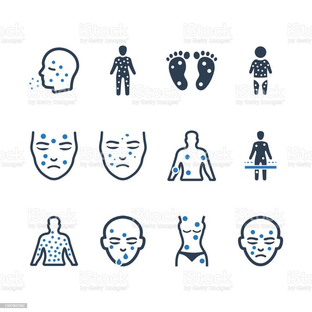 Ícones de Dermatologia - versão azul - ilustração de arte em vetor